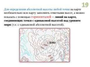 Для определения абсолютной высоты любой точки на карте необязательно всю карт