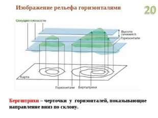 Изображение рельефа горизонталями Бергштрихи – черточки у горизонталей, показ