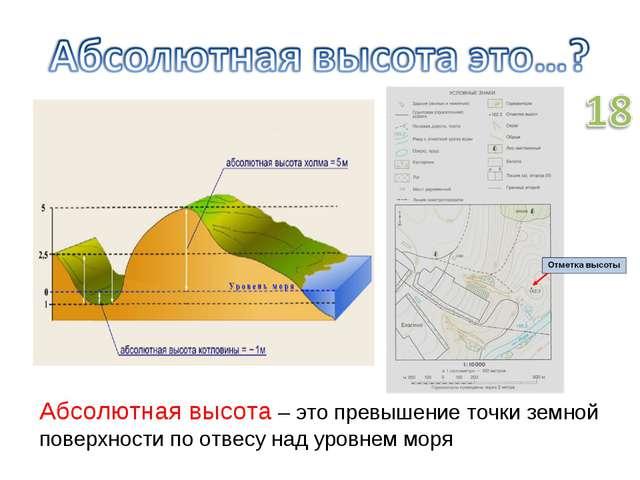 Абсолютная высота – это превышение точки земной поверхности по отвесу над уро...