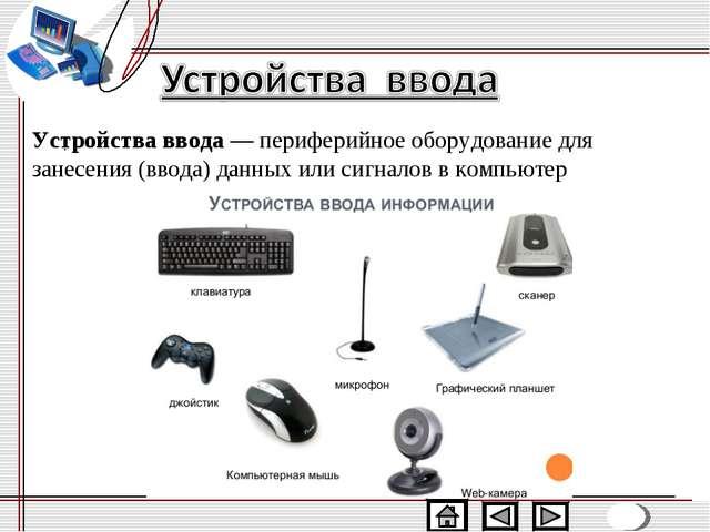 Устройства ввода—периферийное оборудованиедля занесения (ввода)данныхили...