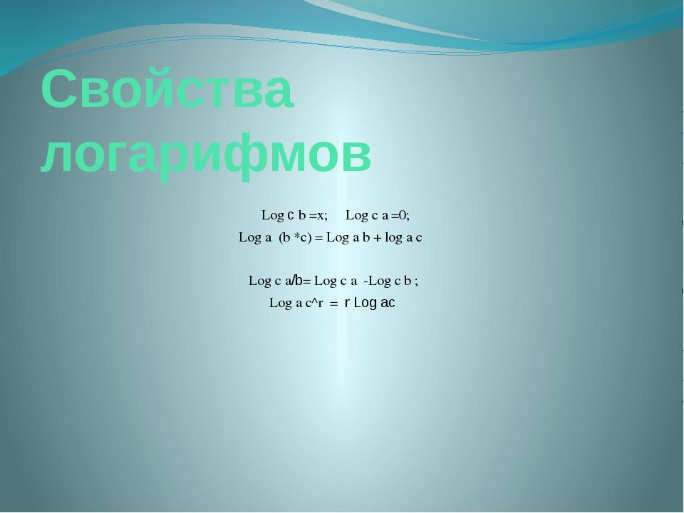 Свойства логарифмов Log c b =x; Log c a =0; Log a (b *c) = Log a b + log a c...