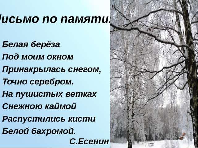 Письмо по памяти. Белая берёза Под моим окном Принакрылась снегом, Точно сере...