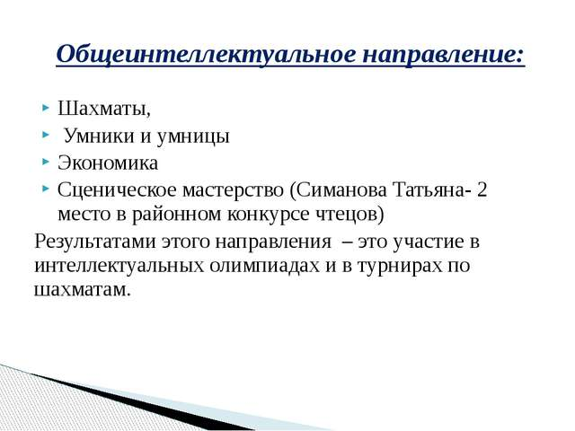 Шахматы, Умники и умницы Экономика Сценическое мастерство (Симанова Татьяна-...