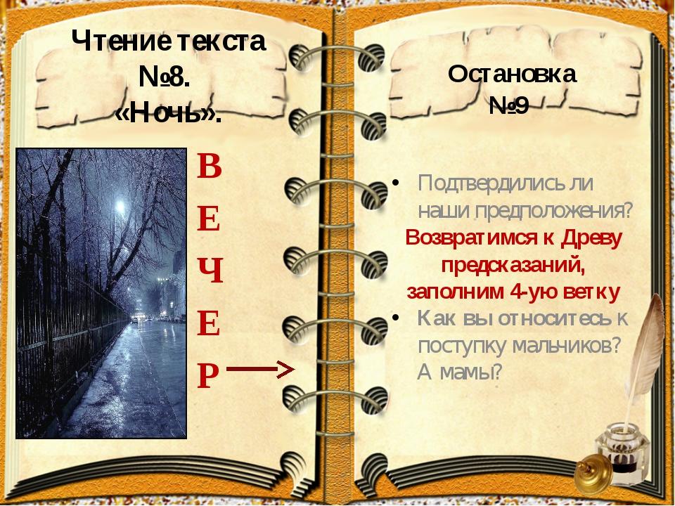 Чтение текста №8. «Ночь». В Е Ч Е Р Подтвердились ли наши предположения? Воз...