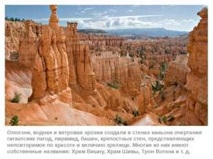 Оползни, водная и ветровая эрозии создали в стенах каньона очертания гигантск