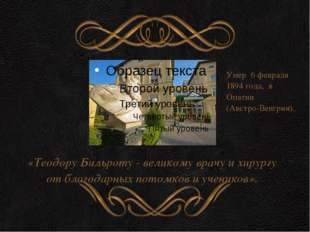 «Теодору Бильроту - великому врачу и хирургу от благодарных потомков и учени