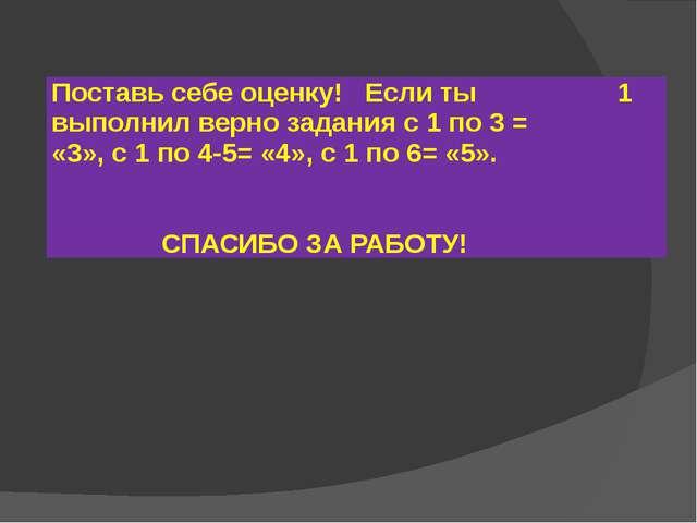 Поставь себе оценку! Если ты выполнил верно задания с 1 по 3 = «3», с 1 по 4-...