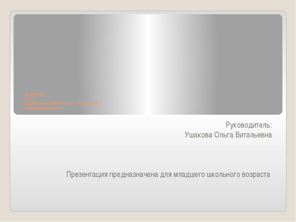 Жирнов Егор 11 лет МБОУ Гимназия №205 «Театр» г. Екатеринбург Свердловская о...