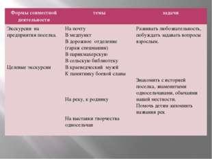 Формы совместной деятельности темы задачи Экскурсиина предприятия поселка. Ц