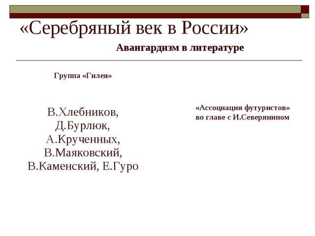 «Серебряный век в России» Авангардизм в литературе Группа «Гилея» «Ассоциация...