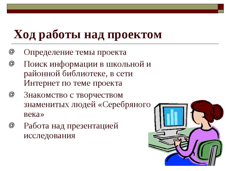 Ход работы над проектом Определение темы проекта Поиск информации в школьной...