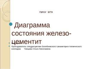 ГБПОУ БГТК Диаграмма состояния железо-цементит Выполнил: Преподаватель спецди