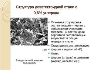 Структура доэвтектоидной стали с 0,6% углерода Основная структурная составляю