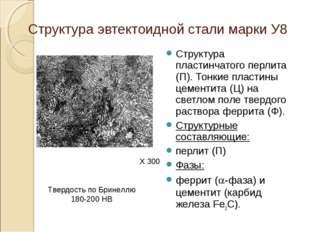 Структура эвтектоидной стали марки У8 Структура пластинчатого перлита (П). То