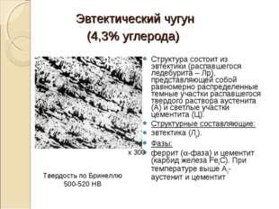 Эвтектический чугун (4,3% углерода) Структура состоит из эвтектики (распавшег