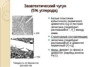 Заэвтектический чугун (5% углерода) Белые пластинки избыточного первичного це