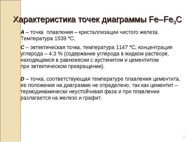 * Характеристика точек диаграммы Fe–Fe3C А – точка плавления – кристаллизации...