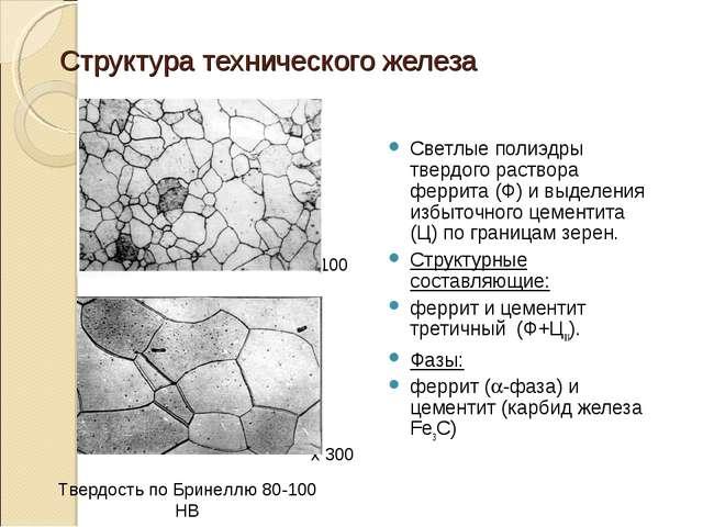 Структура технического железа Светлые полиэдры твердого раствора феррита (Ф)...