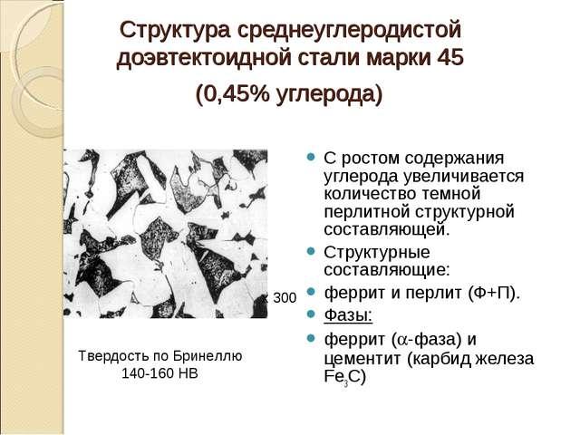 Структура среднеуглеродистой доэвтектоидной стали марки 45 (0,45% углерода) С...