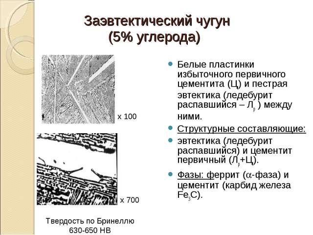 Заэвтектический чугун (5% углерода) Белые пластинки избыточного первичного це...
