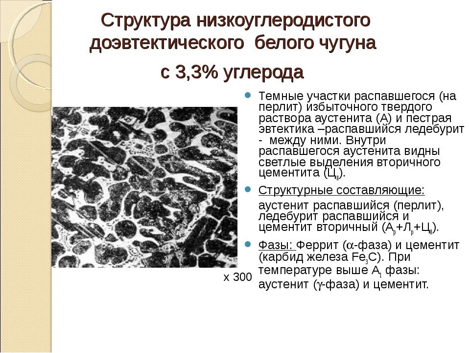 Структура низкоуглеродистого доэвтектического белого чугуна с 3,3% углерода Т...