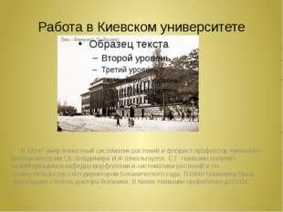 Работа в Киевском университете В 1894г. умер известный систематик растений и