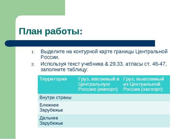 План работы: Выделите на контурной карте границы Центральной России. Использу...