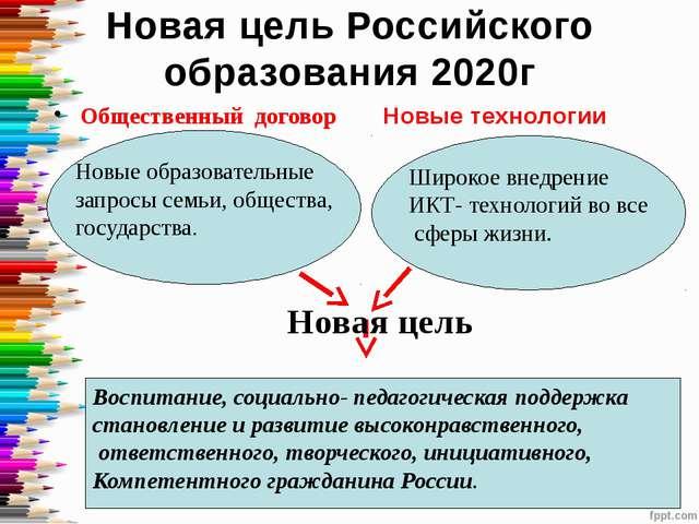Новая цель Российского образования 2020г Общественный договор Новые технологи...