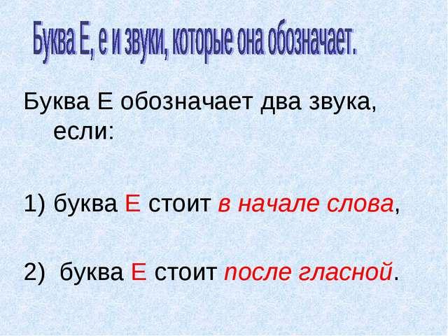 Буква Е обозначает два звука, если: буква Е стоит в начале слова, 2) буква Е...