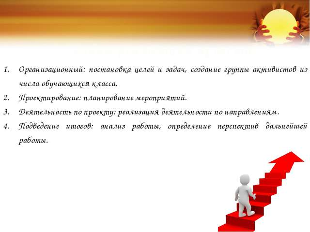 Этапы реализации проекта: Организационный: постановка целей и задач, создание...