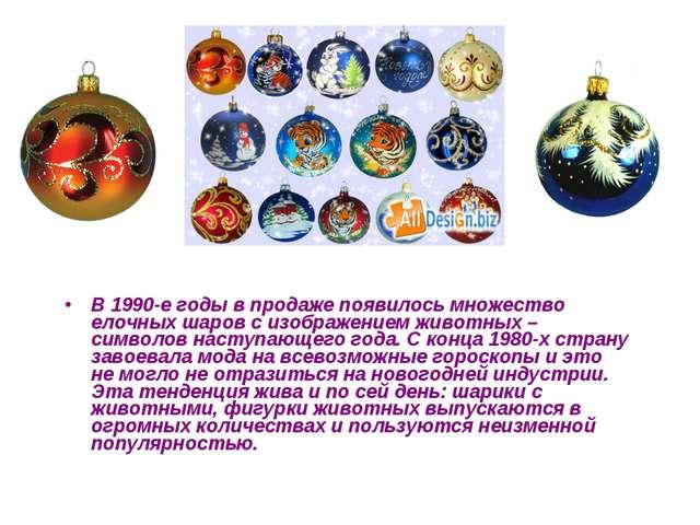 В 1990-е годы в продаже появилось множество елочных шаров с изображением живо...