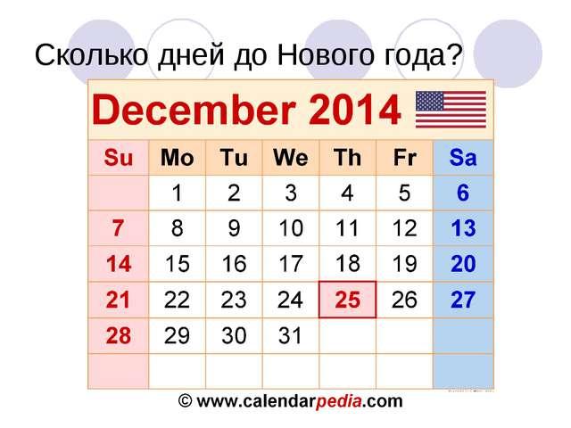 Сколько дней до Нового года?