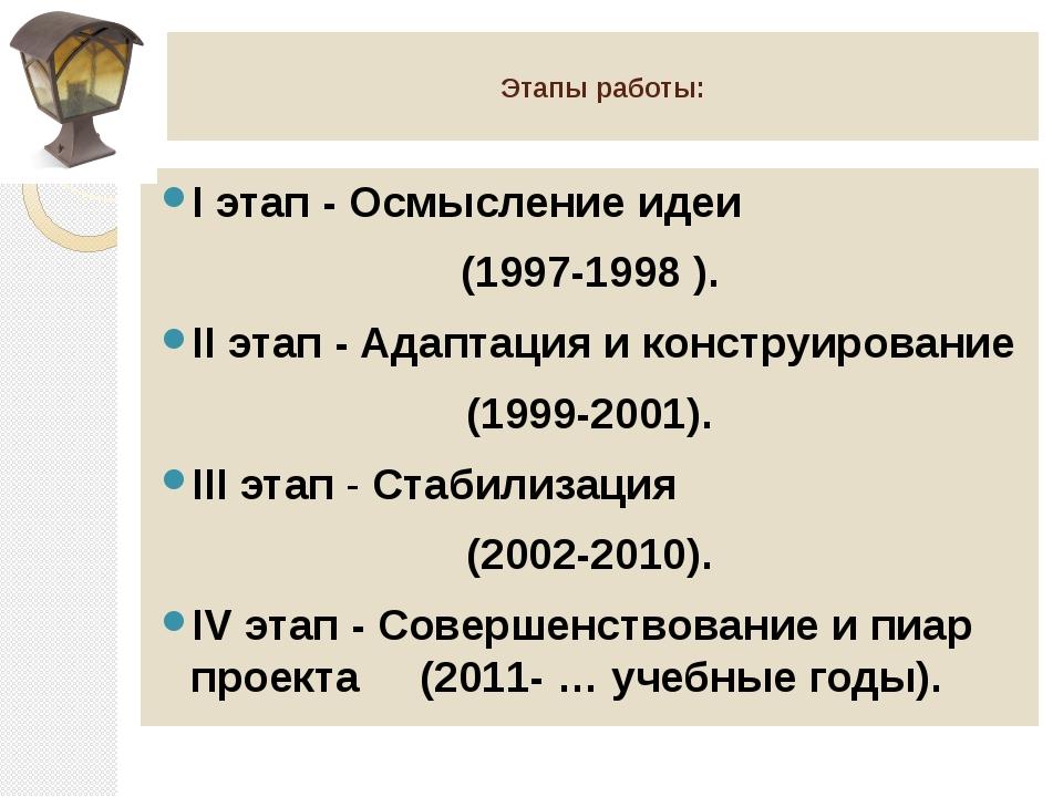 Этапы работы: I этап - Осмысление идеи (1997-1998 ). II этап - Адаптация и к...
