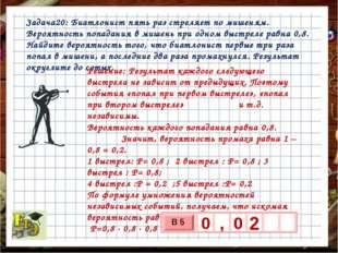 Задача20: Биатлонист пять раз стреляет по мишеням. Вероятность попадания в ми
