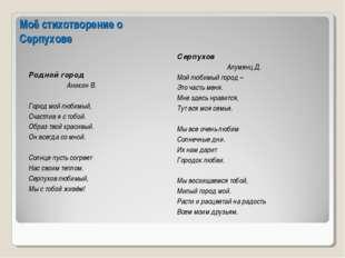 Моё стихотворение о Серпухове Родной город Аникин В. Город мой любимый, Счаст
