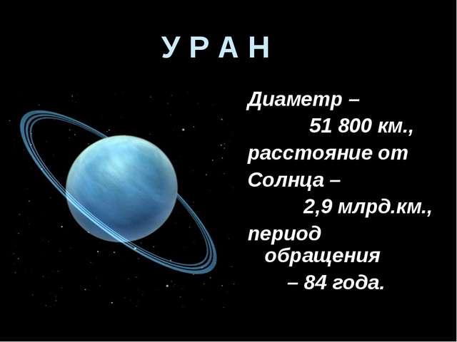 У Р А Н Диаметр – 51 800 км., расстояние от Солнца – 2,9 млрд.км., период обр...