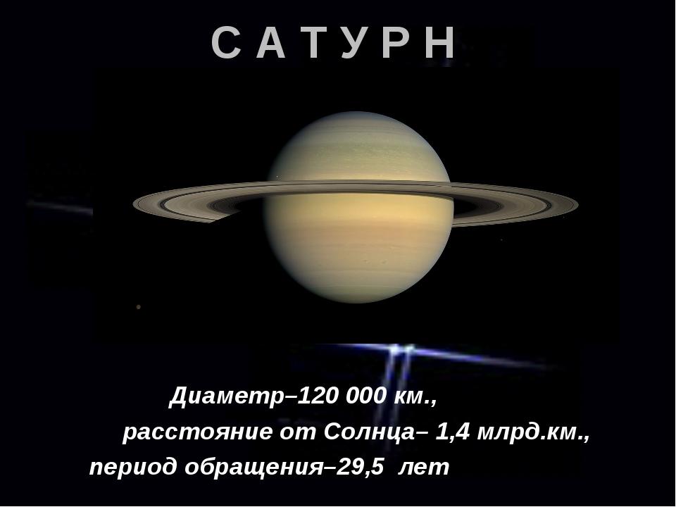 С А Т У Р Н Диаметр–120 000 км., расстояние от Солнца– 1,4 млрд.км., период о...