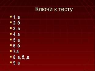 Ключи к тесту 1. а 2. б 3. в 4. а 5. а 6. б 7.а 8. а, б, д 9. а