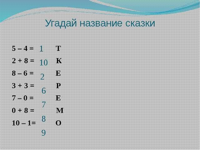 Угадай название сказки 5 – 4 = Т 2 + 8 = К 8 – 6 = Е 3 + 3 = Р 7 – 0 = Е 0 +...