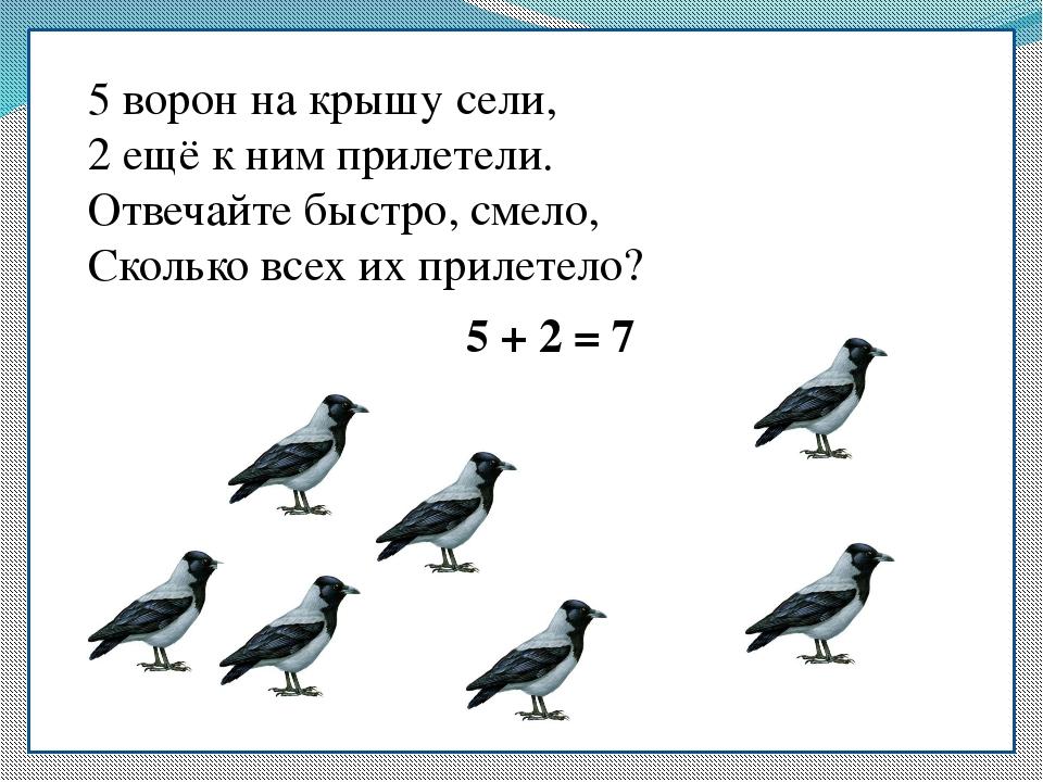 5 ворон на крышу сели, 5 ворон на крышу сели, 2 ещё к ним прилетели. Отвечайт...