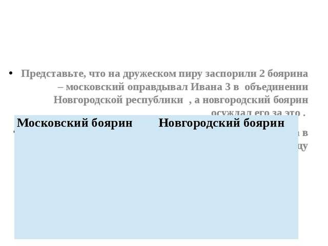 Представьте, что на дружеском пиру заспорили 2 боярина – московский оправдыва...