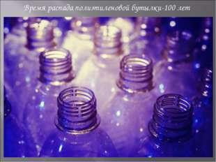 Время распада полиэтиленовой бутылки-100 лет