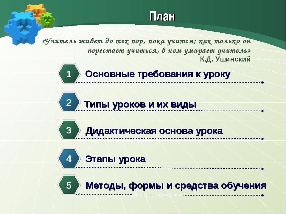 План Основные требования к уроку 1 Типы уроков и их виды 2 Дидактическая осно...