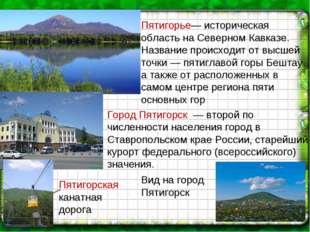 Пятигорская канатная дорога Пятигорье— историческая область на Северном Кавка