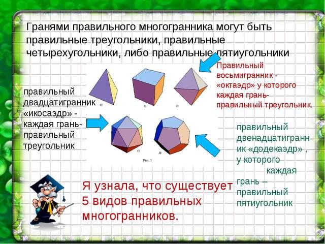 Я узнала, что существует 5 видов правильных многогранников. Гранями правильно...