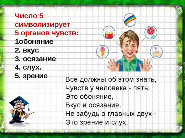 Число 5 символизирует 5 органов чувств: 1обоняние 2. вкус 3. осязание 4. слух...
