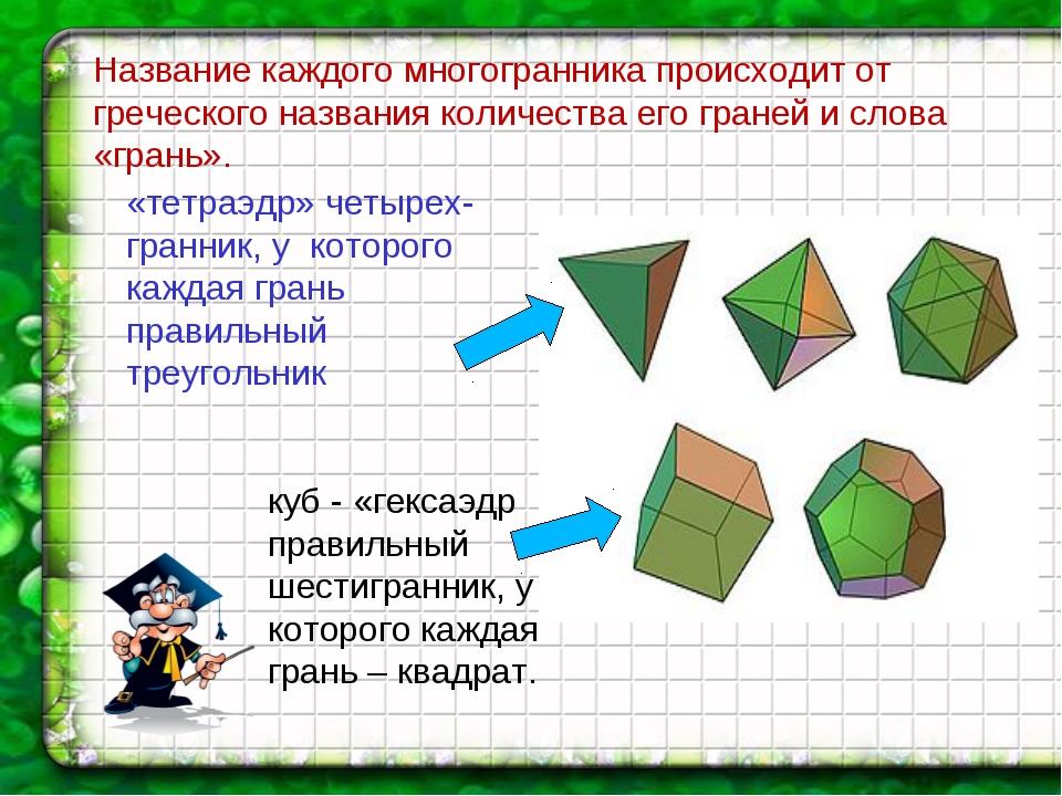 Название каждого многогранника происходит от греческого названия количества е...