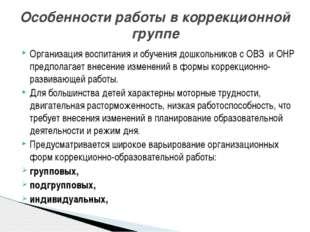 Организация воспитания и обучения дошкольников с ОВЗ и ОНР предполагает внесе
