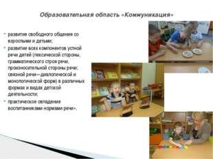 развитие свободного общения со взрослыми и детьми; развитие всех компонентов