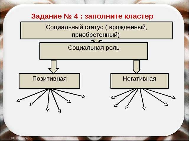 Социальный статус ( врожденный, приобретенный) Социальная роль Позитивная Не...